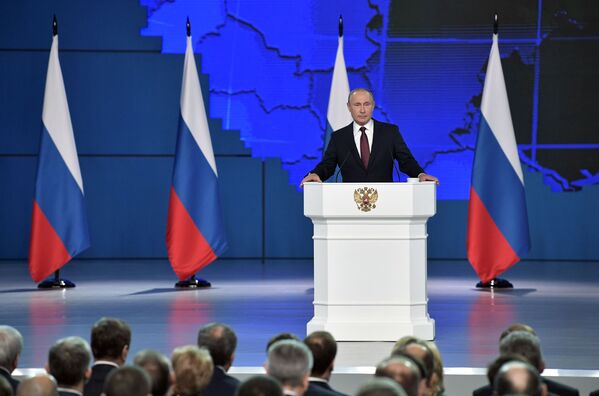 Il presidente russo Vladimir Putin dà il discorso annuale all'Assemblea Federale russa. - Sputnik Italia