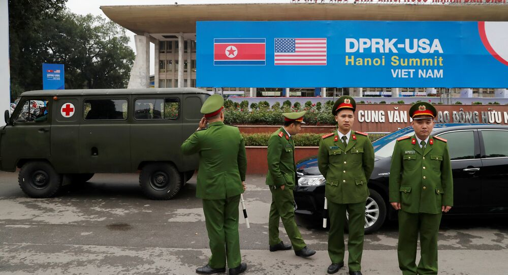 Vietnamese police officers stand guard outside the North Korea-USA summit's media centre in Hanoi, Vietnam, February 23, 2019.