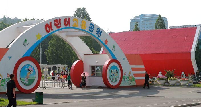 Un parco giochi a Pyongyang