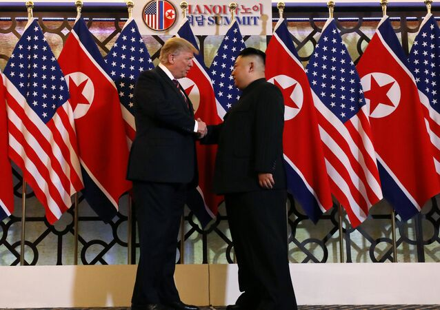 U.S. President Donald Trump and North Korean leader Kim Jong Un shake hands before their one-on-one chat during the second U.S.-North Korea summit at the Metropole Hotel in Hanoi, Vietnam February 27, 2019