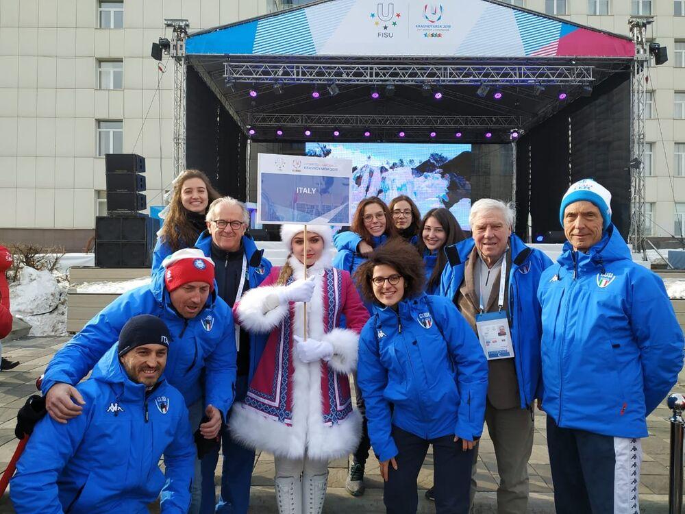 La nazionale italiana di curling al villaggio delle Universiadi di Krasnoyarsk 2019