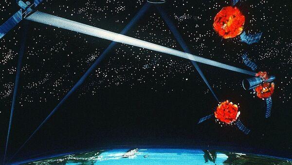 Immagine artistica di un prototipo di arma spaziale - Pentagono, 1984 - Sputnik Italia
