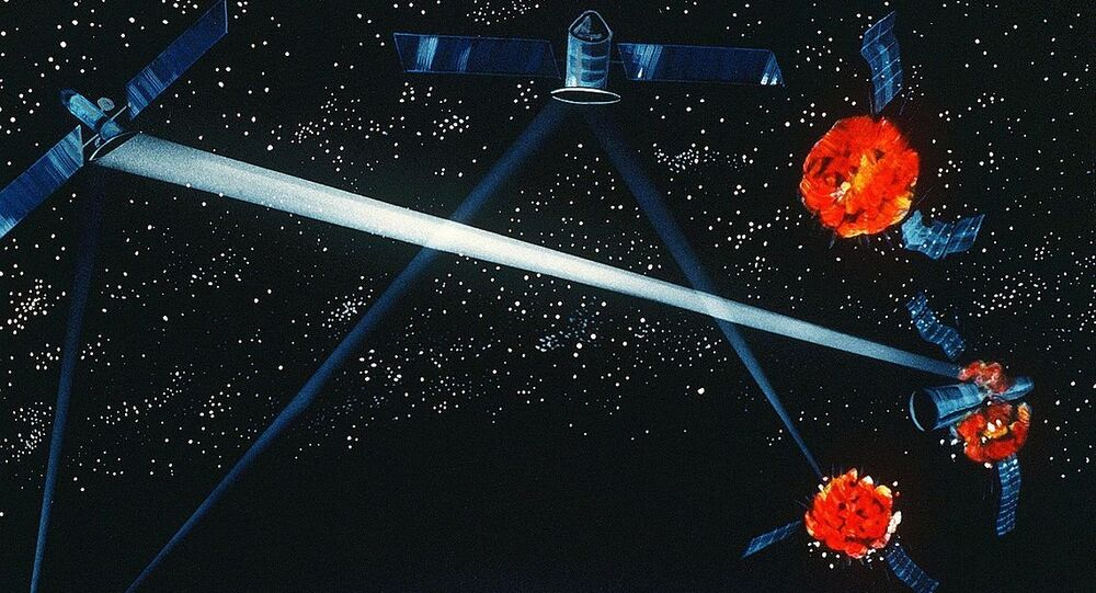 A Pentagon artist's concept of a ground / space-based hybrid laser weapon, 1984