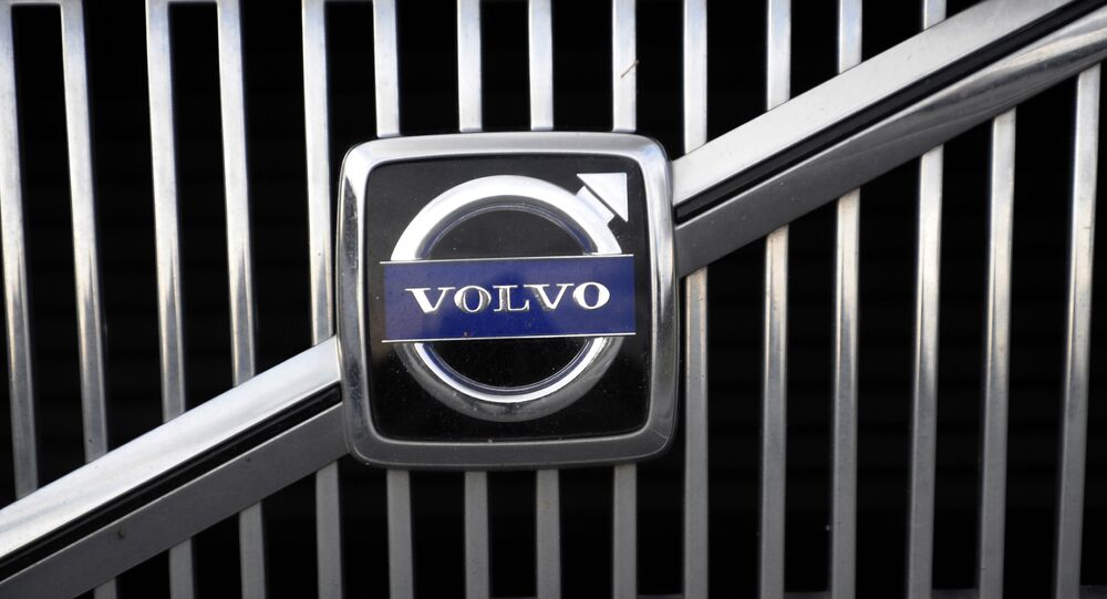 The logo of the Swedish car manufacturer Volvo is pictured on a car in Gothenburg, southwestern Sweden