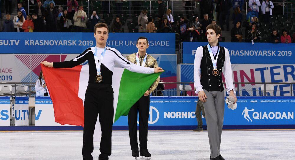 Il podio del concorso individuale di pattinaggio di figura alle Universiadi di Krasnoyarsk 2019: Matteo Rizzo, Italia - Maxim Kovtun, Russia - Moris Kvitelashvili, Georgia