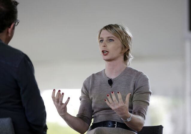 Chelsea Manning, right, is interviewed by filmmaker Eugene Jarecki, left, Sunday, Sept. 17, 2017, during a forum, in Nantucket, Mass.