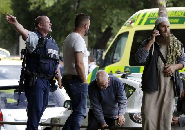 La polizia vista al luogo della sparatoria nella mosche Al Noor a Christchurch, Nuova Zelanda