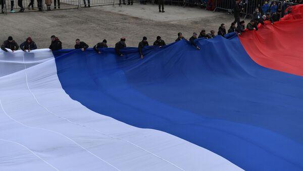 """Il gruppo di motociclisti """"Lupi Notturni"""" hanno organizzato l'evento in occasione del 5° anniversario del referendum che ha sancito la riunificazione della Crimea con la Russia - Sputnik Italia"""