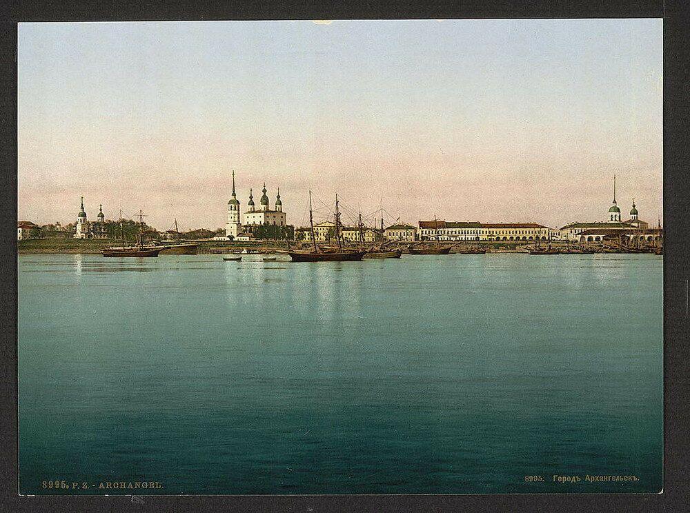 1905, Veduta di Archangel'sk, alla foce della Dvina nel mar Bianco
