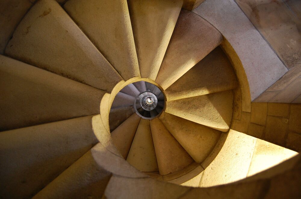 La scala della basilica della Sagrada Familia a Barcelona