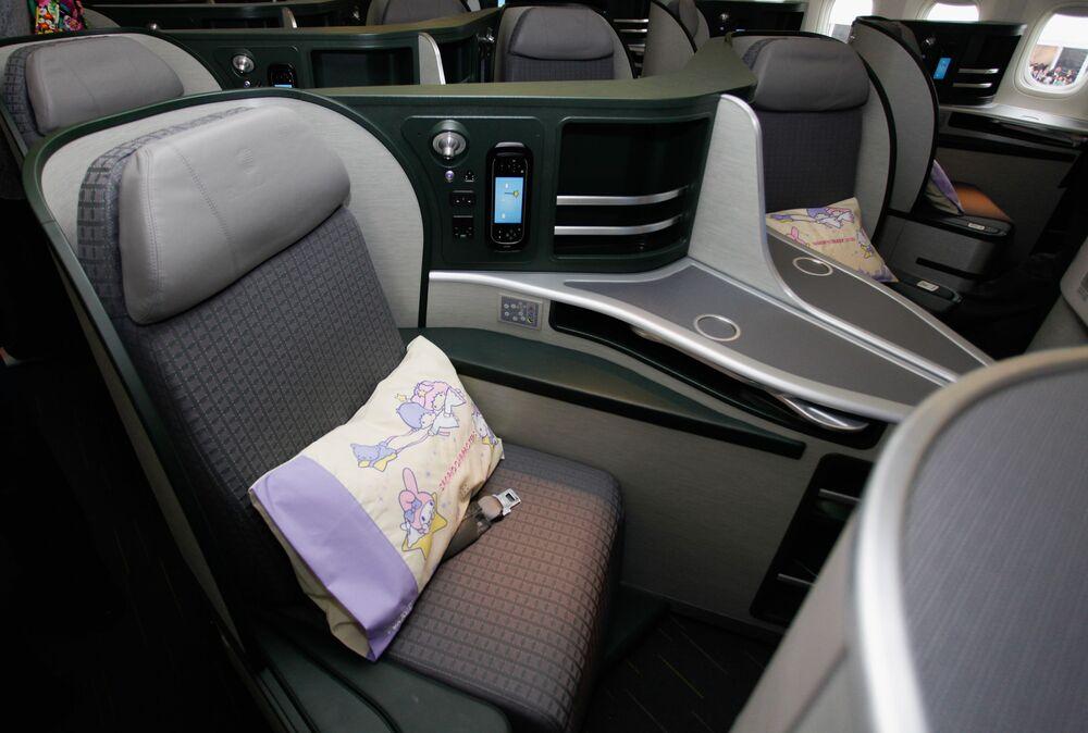 Un posto di business class della EVA Air Hello Kitty Shining star Jet della compagnia aerea taiwanese EVA Air