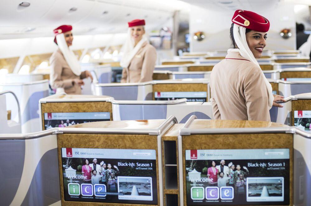 La prima classe di un Airbus A380-800 della Emirates Airline