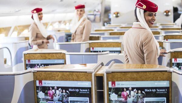 Салон пассажирского самолета Airbus A380-800 авиакомпании Emirates Airline - Sputnik Italia