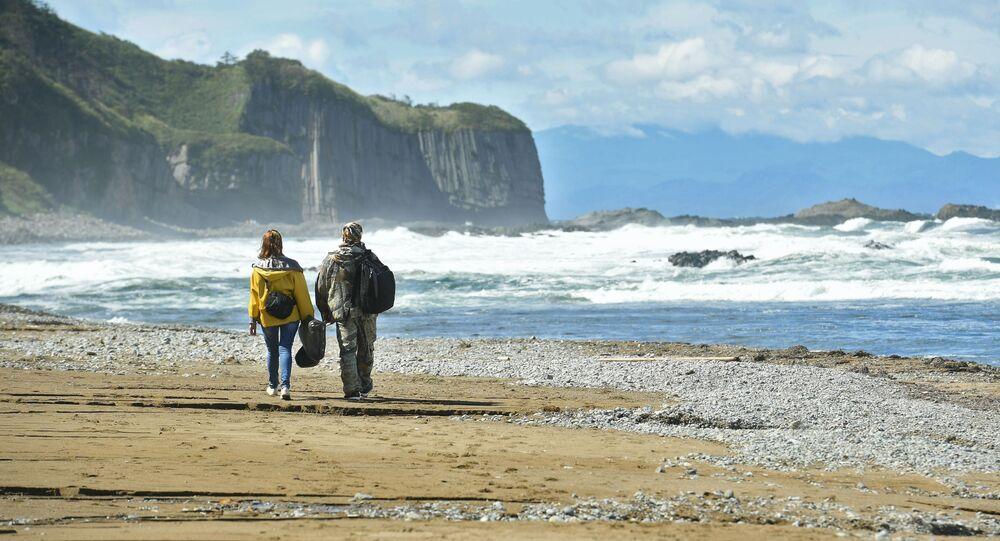 Il promontorio di Stolbciatiy sulla costa occidentale dell'isola Kunashir