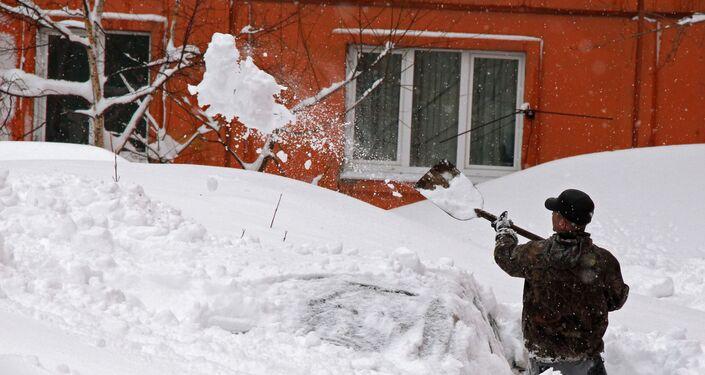 Nevicata del gennaio 2015 nel capoluogo (Sachalin)