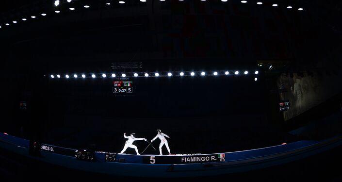 Un momento della semifinale tra Rossella Fiamingo e la tunisina Sara Besbes