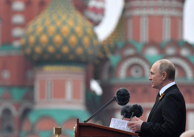 Il presidente Putin prende la parola alla Parata della Vittoria 2019