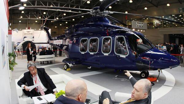 Вертолет Leonardo Helicopters AW 139, представленный на 12-й Международной выставке вертолетной индустрии HeliRussia - 2019 в МВЦ Крокус Экспо - Sputnik Italia