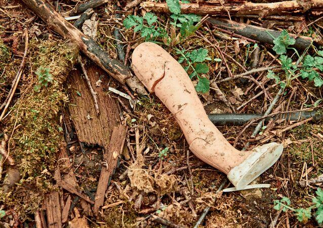 La gamba di una bambola nel bosco