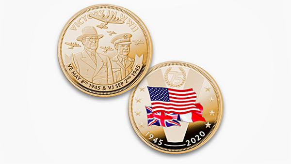 Сувенирная монета, выпущенная к 75-летнему юбилею победы во Второй мировой войне   - Sputnik Italia
