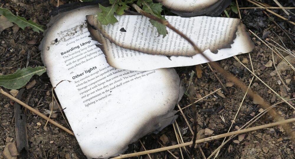 Сгоревшая книга на месте крушения малайзийского Boeing на Украине