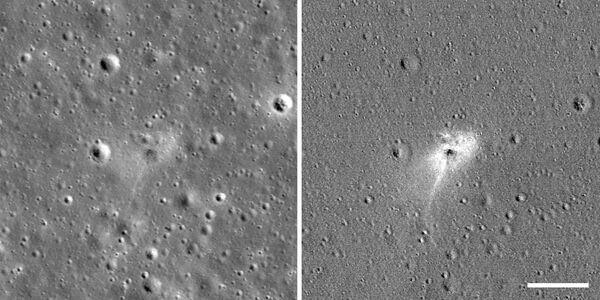 Il luogo sulla superficie lunare dove è precipitata la sonda israeliana Beresheet che aveva fallito l'allunaggio. - Sputnik Italia