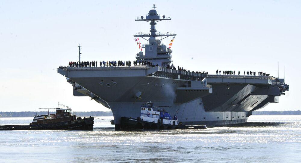 La portaerei Gerald R. Ford durante le esercitazioni (foto d'archivio)