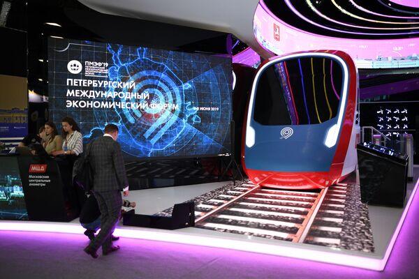 La presentazione del progetto MCD (Diamentri Centrali di Mosca) al centro espositivo Expoforum. - Sputnik Italia