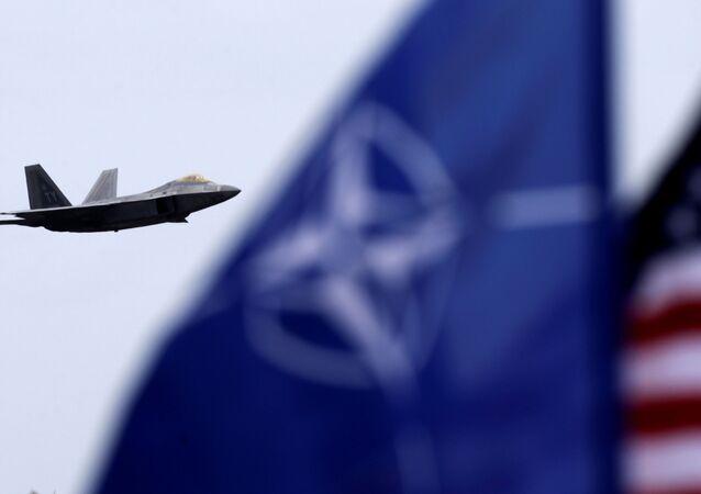 Caccia F-22 Raptor con le bandiere NATO e USA