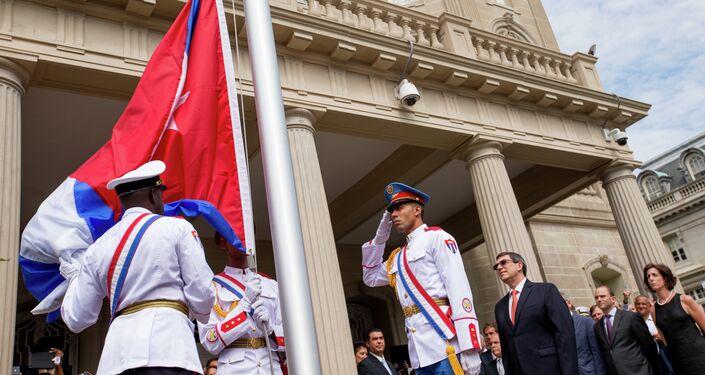 La ceremonia di apertura dell`ambasciata  di Cuba a Washington, il 20,07. 2015.