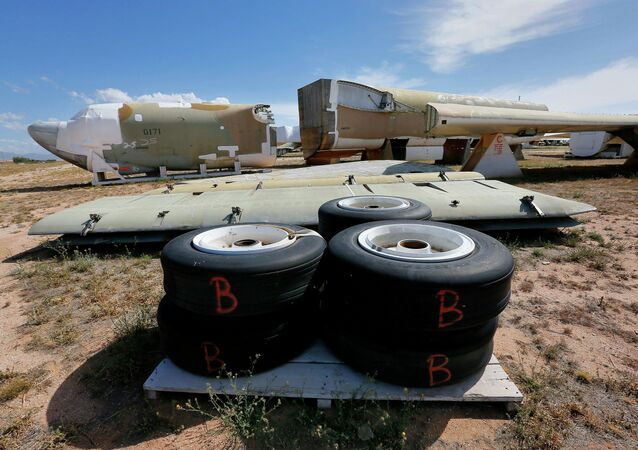 A Boeing B-52 Stratofortress, tail number 58-0171, nicknamed Lil Peach II is seen chopped up per the New START Treaty (Strategic Arms Reduction Treaty) with Russia, at the 309th Aerospace Maintenance and Regeneration Group boneyard Thursday, May 14, 2015 at Davis-Monthan Air Force Base in Tucson, Ariz