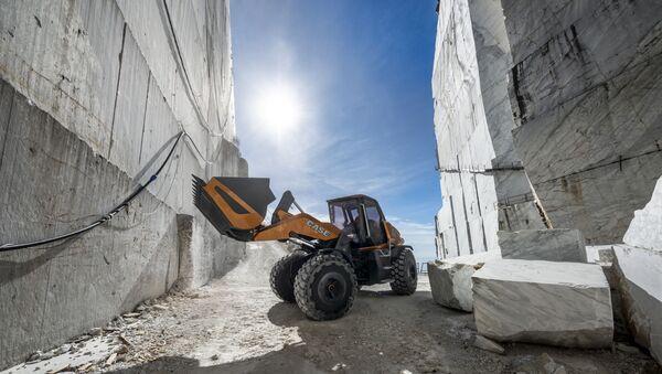Il concept di pala gommata a metano TETRA di Case Construction al lavoro - Sputnik Italia