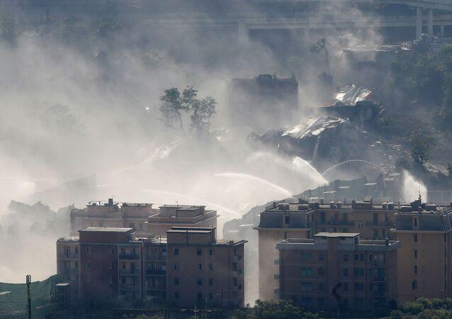 Dopo la demolizione del ponte Morandi a Genova