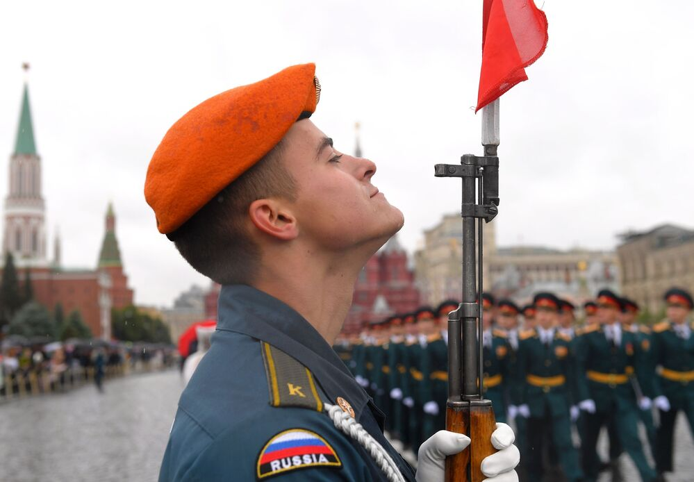Un cadetto dell' Accademia del Ministero delle Situazioni di Emergenza della Federazione Russa