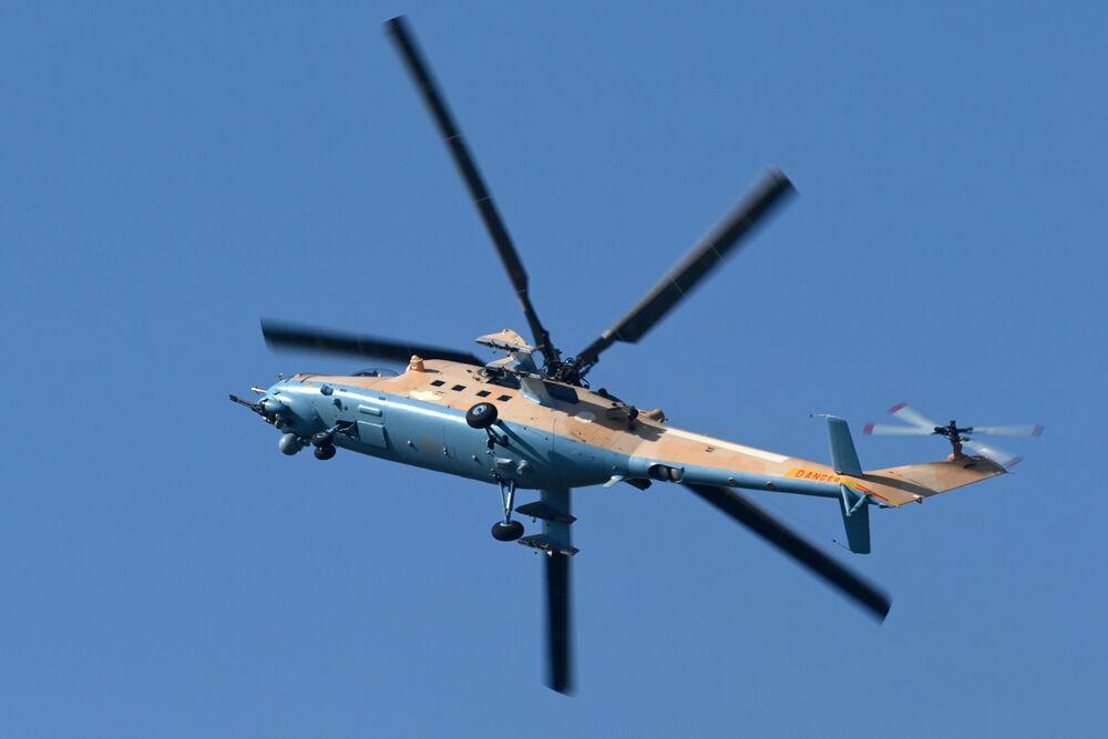 L'elicottero da trasporto Mil Mi-35M, soprannominato il Coccodrillo è una versione modernizzata dell'elicottero Mil Mi-24