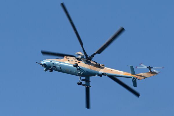 L'elicottero da trasporto Mil Mi-35M, soprannominato il Coccodrillo è una versione modernizzata dell'elicottero Mil Mi-24 - Sputnik Italia