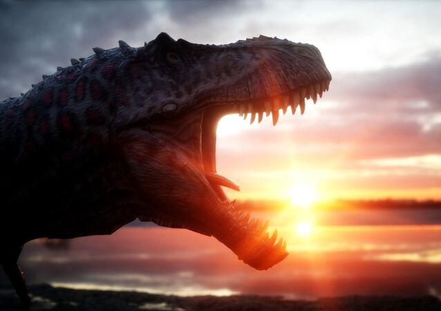 Dinosauro al tramonto