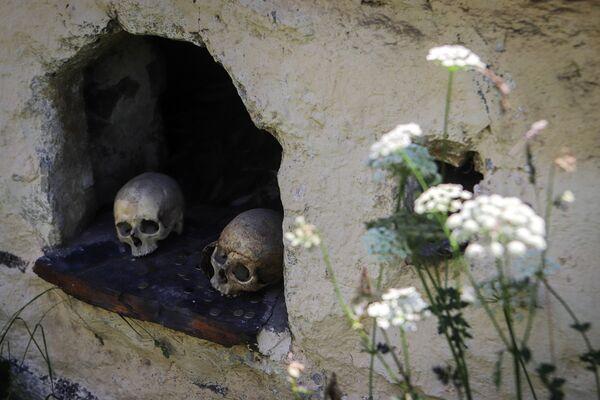 I crani e le monete in una tomba  sul territorio della Città dei morti. - Sputnik Italia