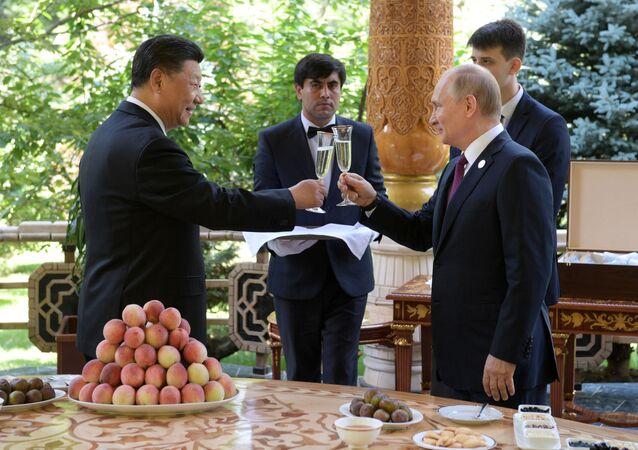 Il presidente russo Vladimir Putin e il suo omologo cinese Xi Jinping durante l'incontro a Dushanbe.
