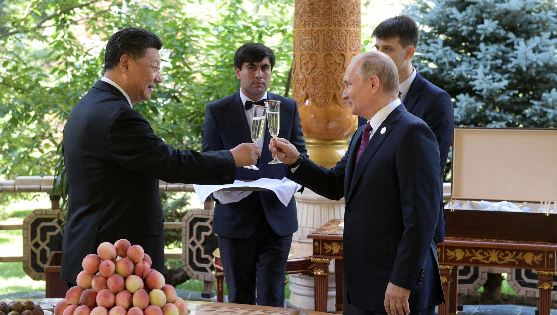 Il presidente russo Vladimir Putin e il suo omologo cinese Xi Jinping durante l'incontro a Dushanbe. - Sputnik Italia, 1920, 26.04.2021