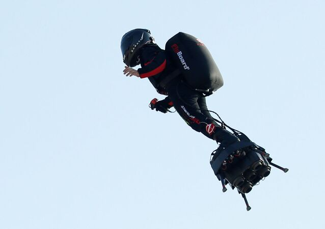 French inventor Franky Zapata takes off on a Flyboard to cross the English channel from Sangatte to Dover, in Sangatte, France, July 25, 2019