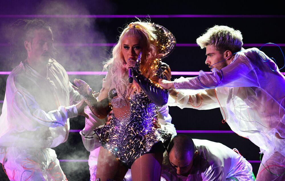 Il concerto di Christina Aguilera a Mosca.