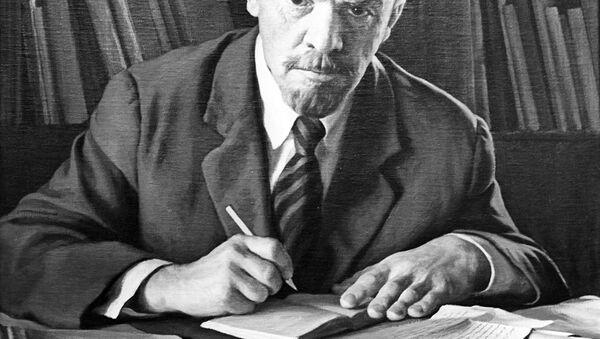 Riproduzione del quadro V.Lenin al lavoro 1966 - Sputnik Italia