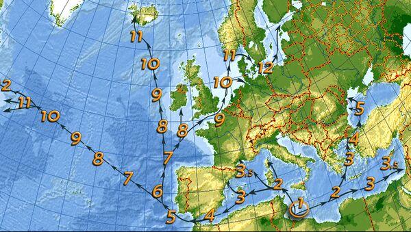 Mappa tempi di navigazione medi - Sputnik Italia