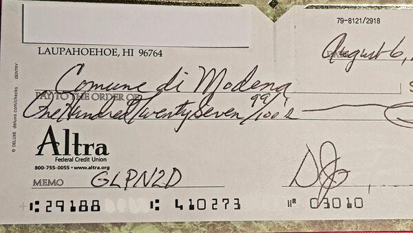 L'assegno inviato dal cittadino americano alla Polizia Municipale di Modena - Sputnik Italia