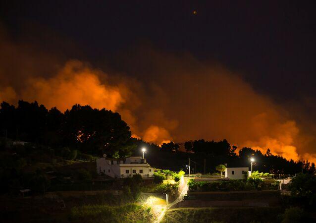 Le fiamme vicino all'abitato di Valleseco nell'isola di Gran Canaria