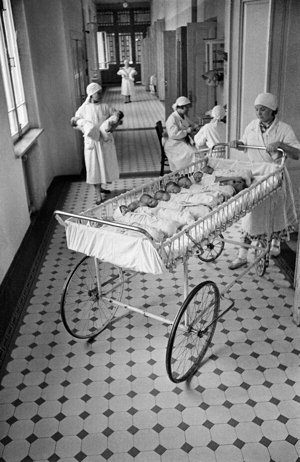 Neonati in una delle Case della Maternità di Mosca. 1955. - Sputnik Italia
