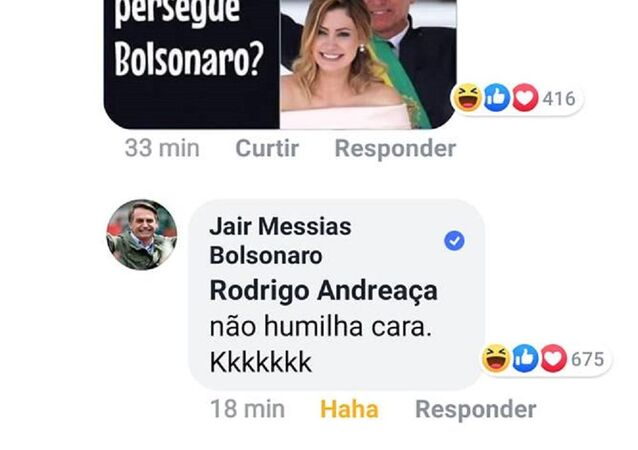 Commento di Bolsonaro su Facebook