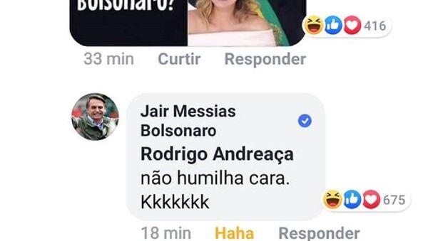 Commento di Bolsonaro su Facebook - Sputnik Italia