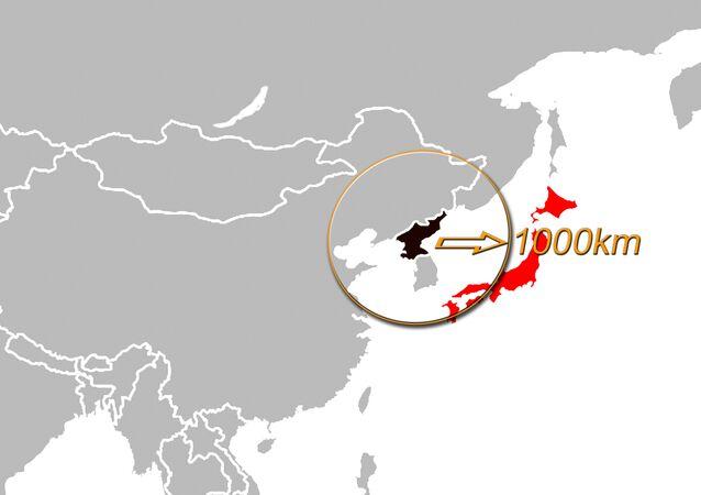Raggio di 1000km intorno alla Corea del Nord